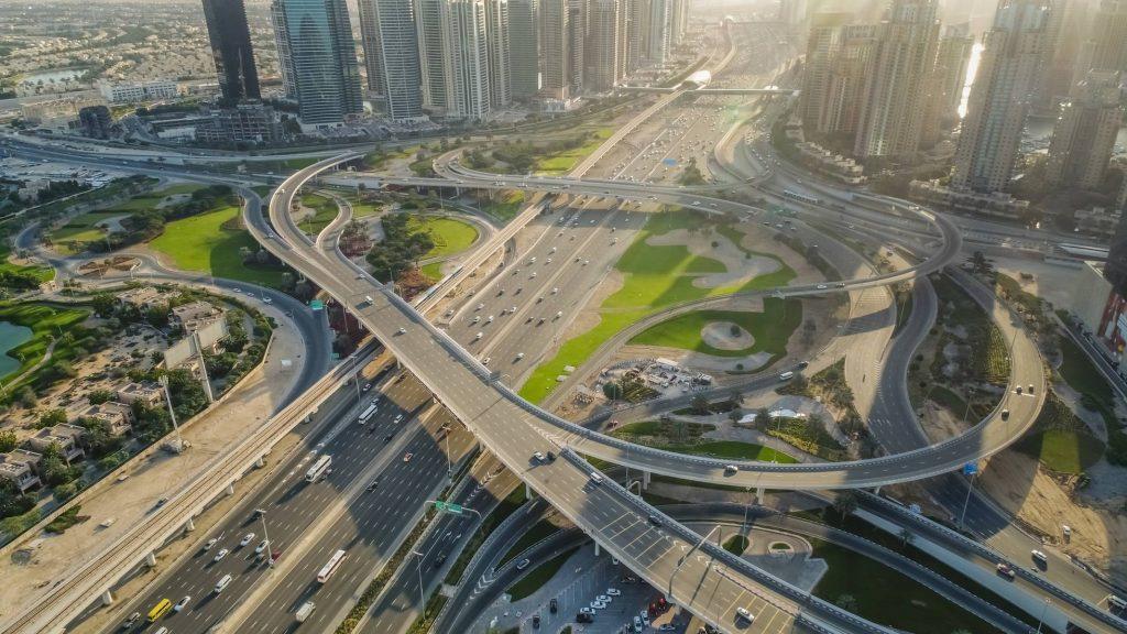 Aerial view of the Traffic in Dubai, United Arab Emirates - AAEF01971