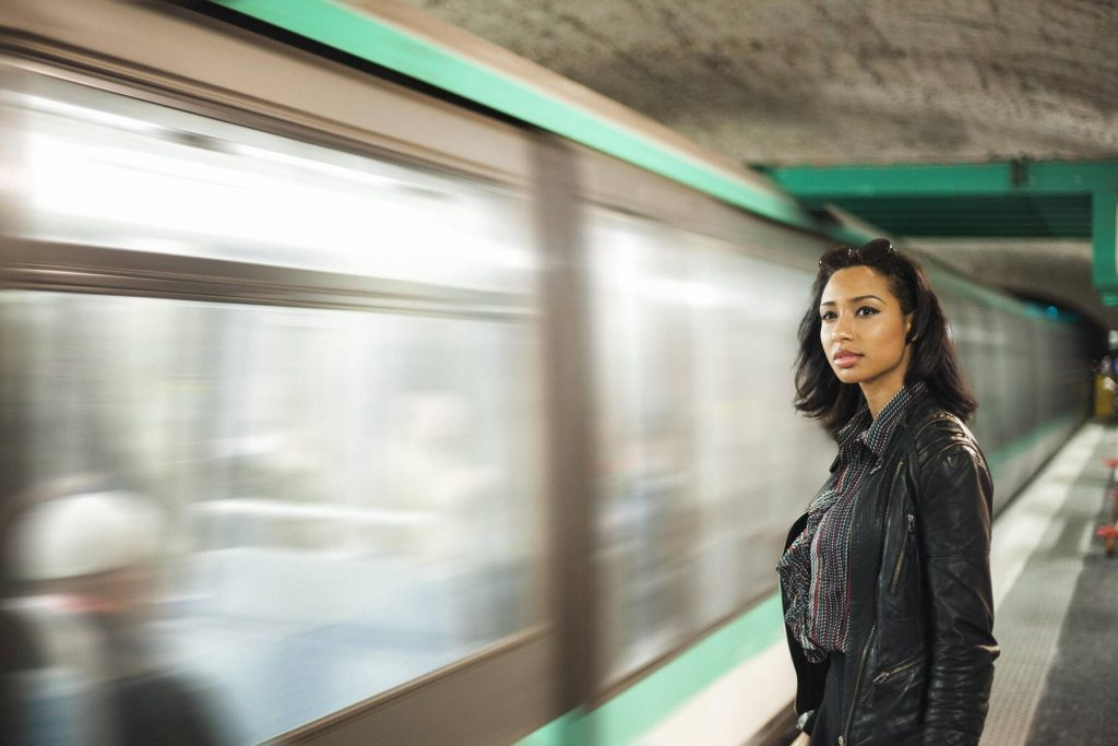 France, Paris, young woman at underground station - ZEDF000125