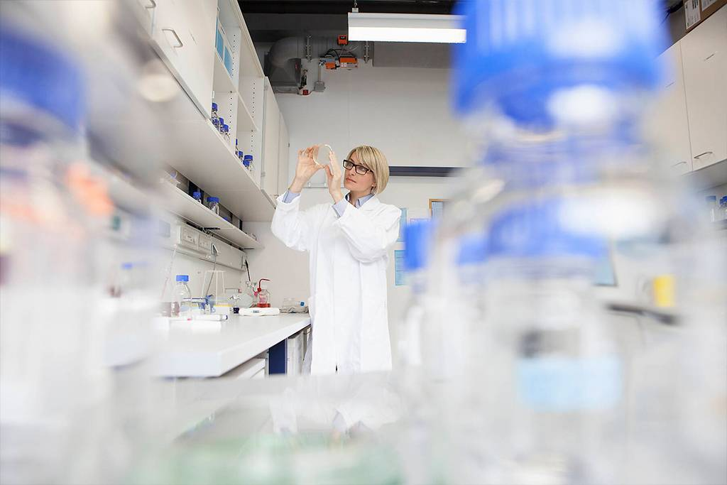 Scientist with petri dish in laboratory - RBF002597