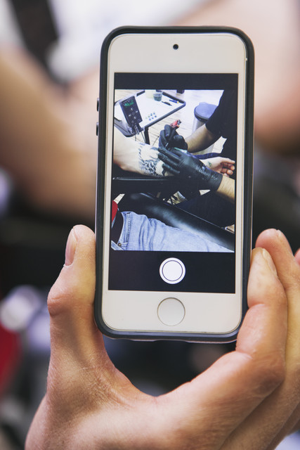 stock photo: selfie of tattoo work