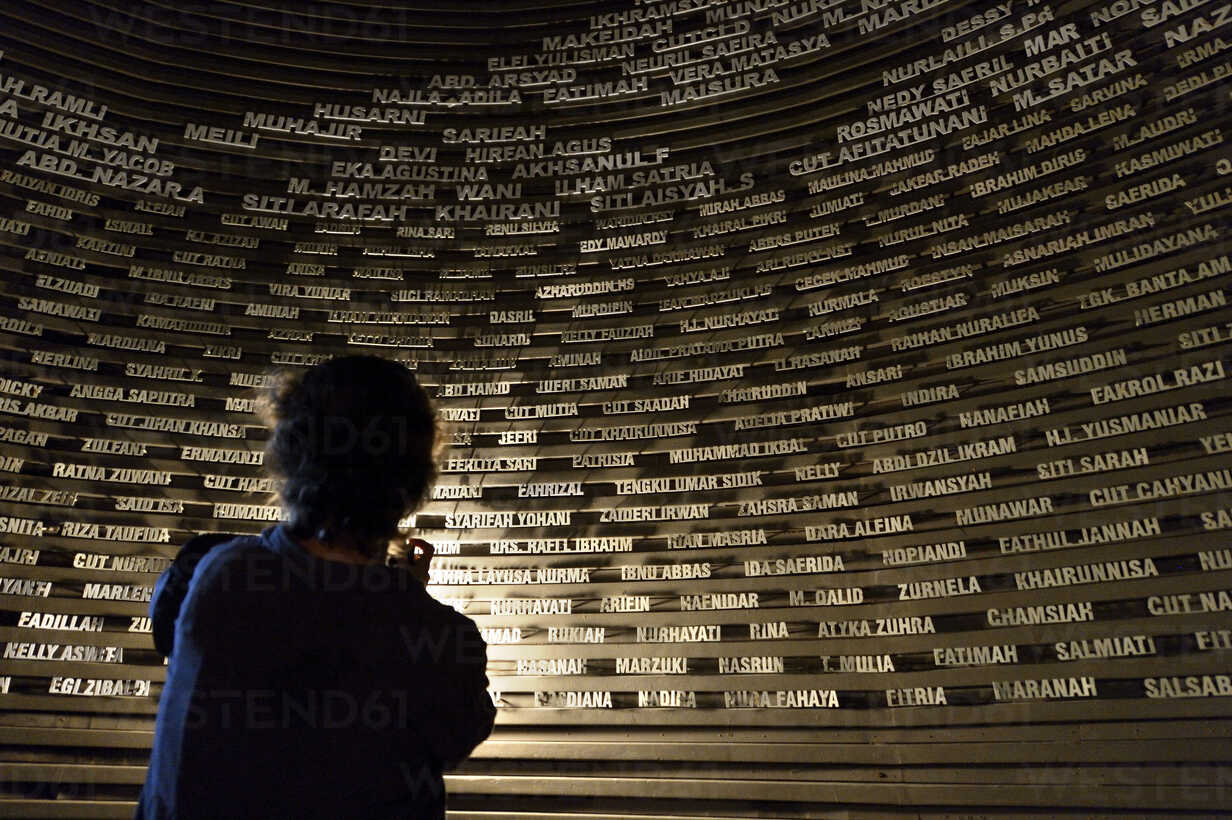 Indonesia Banda Aceh Aceh Tsunami Museum Names Of Victims Stockphoto