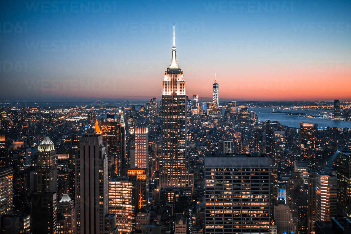 High Angle View Of Illuminated Empire State Building And City ...