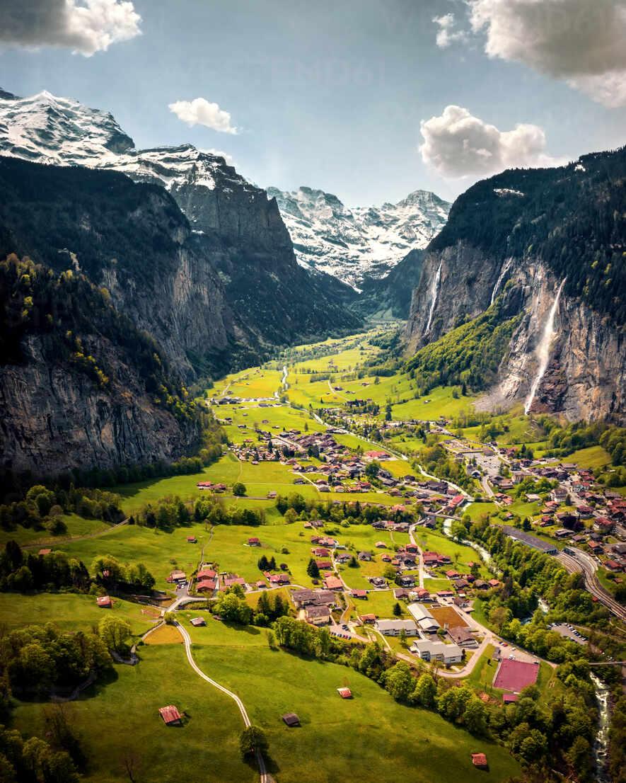 Aerial view of Lauterbrunnen, Interlaken Oberhasli,Canton of Bern ...
