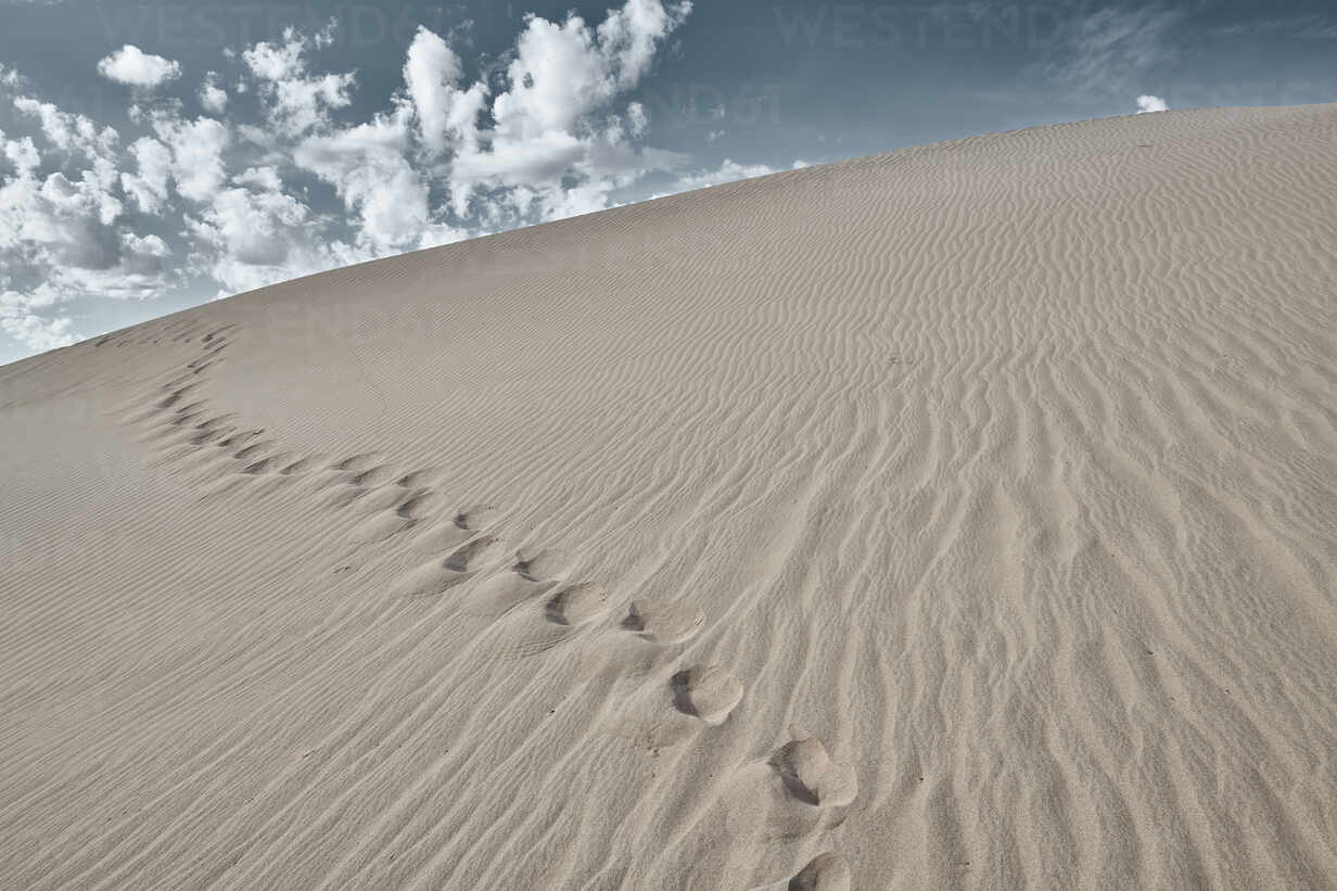 Footprint on sand of Cadiz Dunes at Mojave Desert, Southern ...